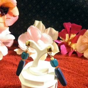 Gorgeous teal and navy long dangling earrings
